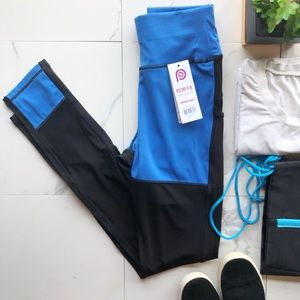 POP Fit Blue and Black Mesh Leggings with Bag